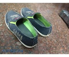 OPEN SHOES;Pair of Denim slip-on shoes, Size 9