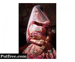 Embroidered silk unstitched wedding lehenga at Mirraw