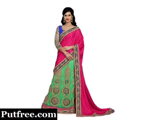 Embroidered lehenga saree with blouse at Mirraw - Shop Now