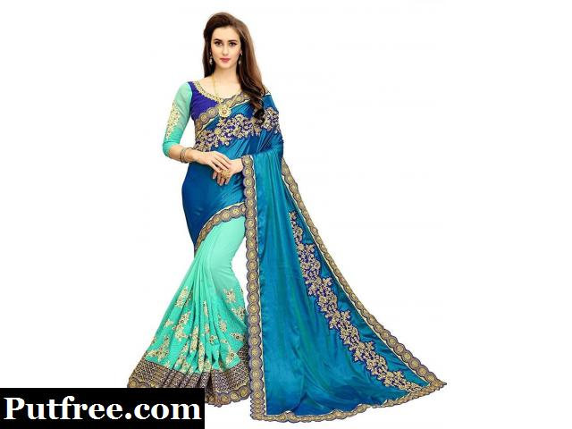 Latest collection of Embroidery sarees online at Mirraw