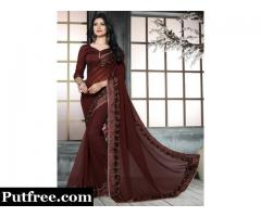 Shop Brown colour sarees online at discount price
