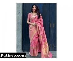 Buy designer pink colour sarees online from Mirraw at reasonable prices.
