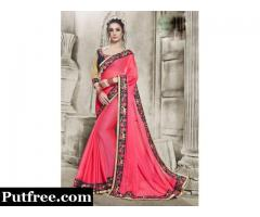 Buy designerpink colour sareesonline from Mirraw at reasonable prices.