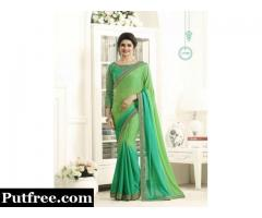 Buy designer ombre sarees with blouse from Mirraw online store