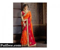 Buy Orange Colour Sarees Online At Mirraw