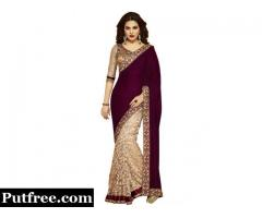 Buy Velvet Sarees Online Shopping At Mirraw