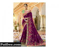 Buy The Latest Embroidered  Sarees From Mirraw At Fair Price