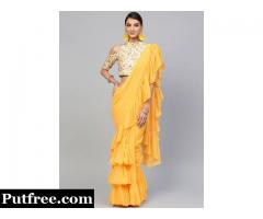 Chic & Stylish Yellow Sarees From Mirraw For Ladies