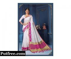 Shop Latest & Exclusive White Sarees Online At Mirraw