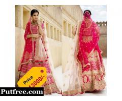 Pink Dola Slik Lehenga Online Shopping at Vasansi Jaipur