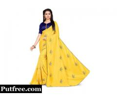 Shop Silk Sarees With Contrast Blouse From Mirraw