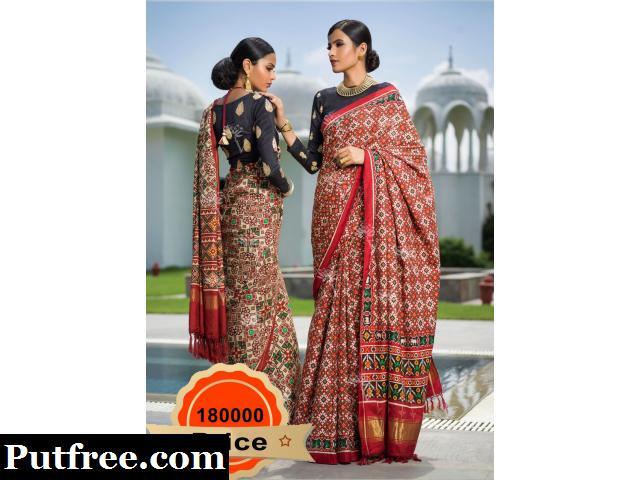 Buy Silk Red Black Saree From Vasansi Jaipur
