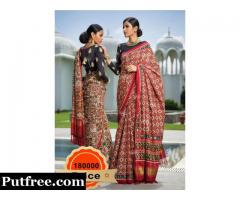 Buy Silk Red Black Saree From Vasansi Jaipur