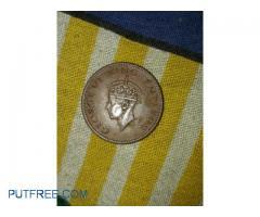 1949 1Quarter Anna british coin