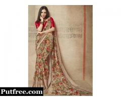 Buy The Latest Brown Sarees Collection From Mirraw