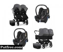 Bugaboo Donkey 2 Twin Black 2x Cabriofix Travel System Black/Grey Melange