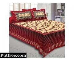 Order Hand Block Bagru Print Double Bed Sheet at Best Price