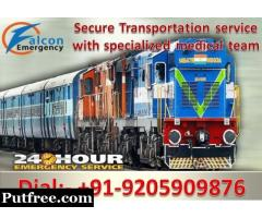 Falcon Train Ambulance from Delhi to Mumbai, Patna – 24 Hrs Available Now at Low Cost