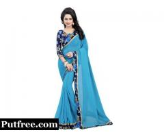 Buy beautifully designed Sky Blue Sarees online at Mirraw