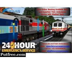Falcon Emergency Train Ambulance Service in Kolkata - Patient Conveniently Move