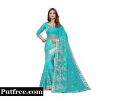 Buy Latest Embroidered Blue Bemberg Saree from Mirraw