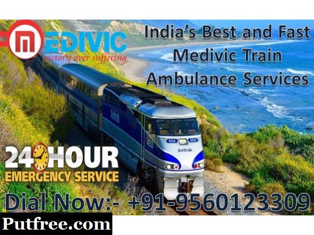 Medivic Aviation Train Ambulance from Varanasi to Delhi - Advanced Supervision