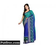 Shop Embroidered Viscose Saree in Multicolor from Mirraw