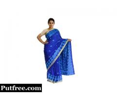 Buy latest Phulkari Saree in Royal Blue color from Mirraw