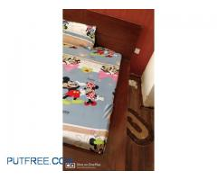 A well conditioned low floor bed without mattresses is available,