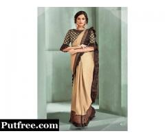Grab the latest beige embroidered One minute saree from Mirraw