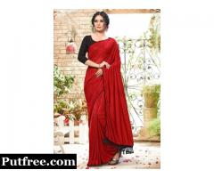 Buy the most elegant Red Plain Silk Saree from Mirraw