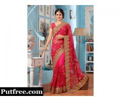 Shop Pink Georgette Net Saree with Blouse from Mirraw