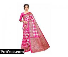 Shop latest Pink Printed Mysore Silk Saree from Mirraw