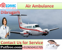 Hire Air Ambulance in Dibrugarh by Medivic Aviation at Low Price