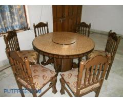 9530205030 ,Dinning table with 6 chair with new seats newly refurnished  in Sri Ganganagar Rajasthan