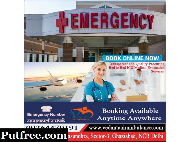 Vedanta Air Ambulance Services from Jabalpur to Delhi at Lowest Fee