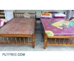 New wooden accasia bed + mattress + 2 pillow 7000