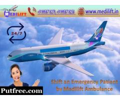 Pick Medilift Air Ambulance Service in Dibrugarh with Doctor