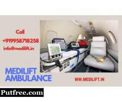 Medilift Air Ambulance Service in Kolkata with Doctor Facility