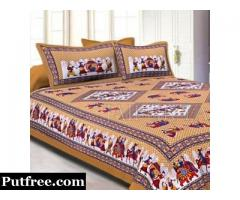 Purchase Online Sanganeri Printed Bed Sheets