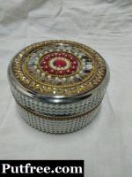 handcrafted decorative stainless steel container