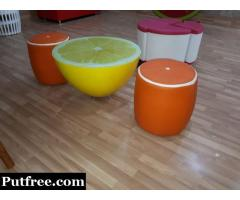 1 lemon table n 2 stool look like orange n new furniture not old