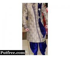 Only One month Old Blue Sherwani With Hamer,stylish Chain And Patch..