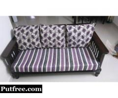 3 Seater Teak Wooden Sofa with Cushion