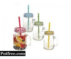Juice mug with lid and reusable straw