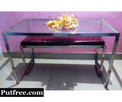 Imported Glossy Stainless Steel 12mm GLASS TOP Table with Sofa,Rs .12500