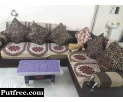 5 seater L shape sofa with cusions and small center table