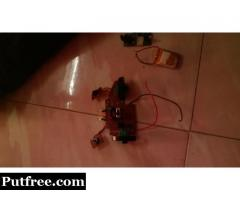 Remote control helicopter transmitter and receiver with battery