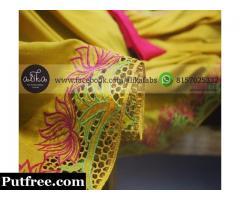 Crepe Silk Baptism Saree with Cutwork