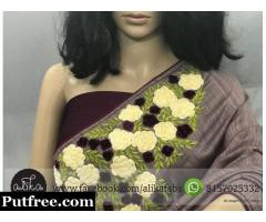 Grape Shade Embroidery Saree